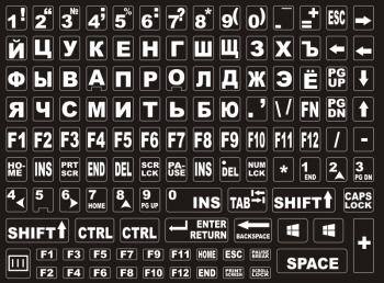 Наклейки на клавиатуру чёрный фон белые буквы