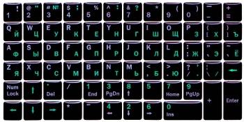 Черные с силиконовым покрытием англ./рус. белые./зелёные + функциональные