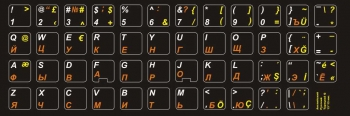 Наклейки букв английский, русский, турецкий язык на чёрном фоне
