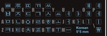 Чёрный фон корейские наклейки на клавиатуру синие буквы