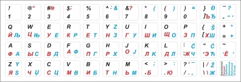 Наклейки белый фон Сербские, Русские, Английские символы