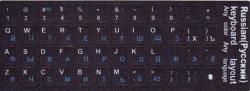 Наклейки  русские/латински синие/белые символы на чёрном фоне