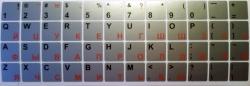 Виниловые наклейки на клавиатуру серебристые красные/чёрные буквы