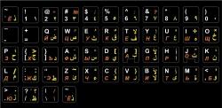 Английский, русский арабский алфавит чёрные 15*15 мм